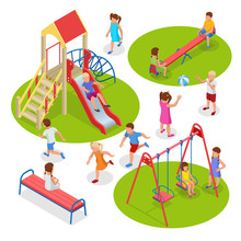 Isometric Kids, Boys And Girls Are Playing On The Playground. Swing Carousel Sandpit Slide Rocker Rope Ladder Bench.