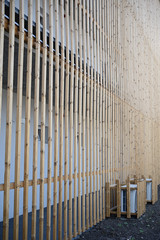 wooden wall of gallery house modern architecture