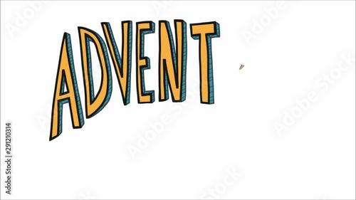 Fotografie, Obraz  Adventure awaits word yellow color cartoon font style
