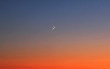 Red Sunset With Crescent Moon ...