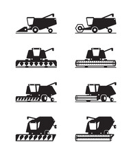 Combine Harvester In Different...