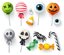 Halloween Candy Vector Set For Trick Or Treat. Sweets Halloween Candies, Candy Cane And Lollipop In Scary Candy Cover Of Pumpkin, Ghost And Eyeball Isolated In White Background. Vector Illustration.