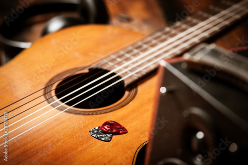 Photo  guitar pick and guitar