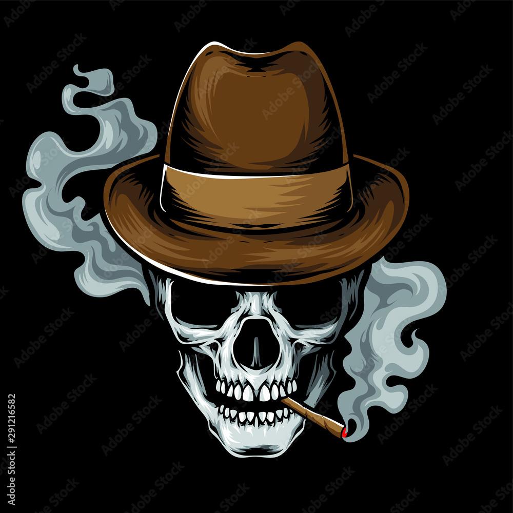 Fototapeta mafia skull smoke vector logo