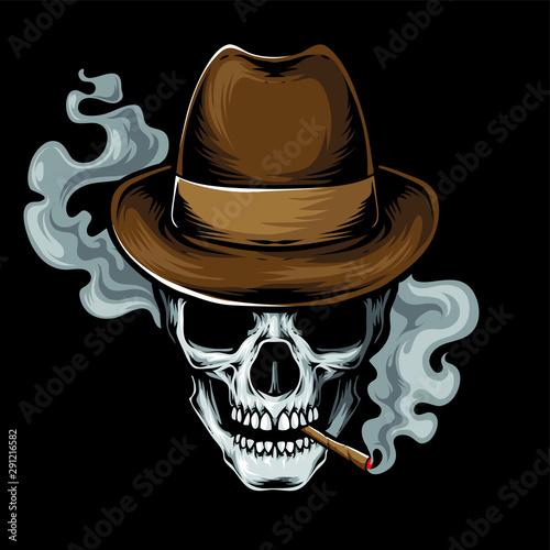 mafia skull smoke vector logo Fototapet