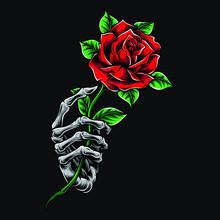 Skeleton Hand Holding Rose Vector