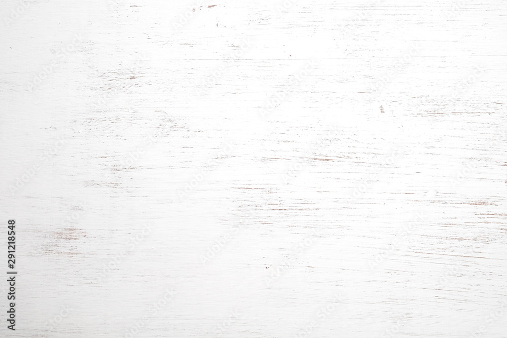 Fototapeta Vintage white wood background - Old weathered wooden texture painted in white color.