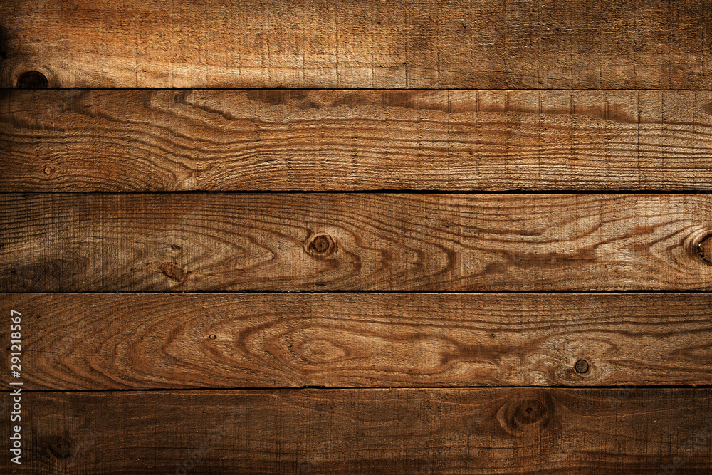 Fototapety, obrazy: Old brown wooden plank . dark wood background.