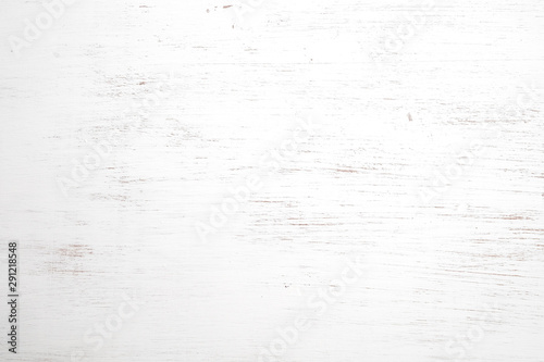 Vintage white wood background - Old weathered wooden texture painted in white color. - 291218548