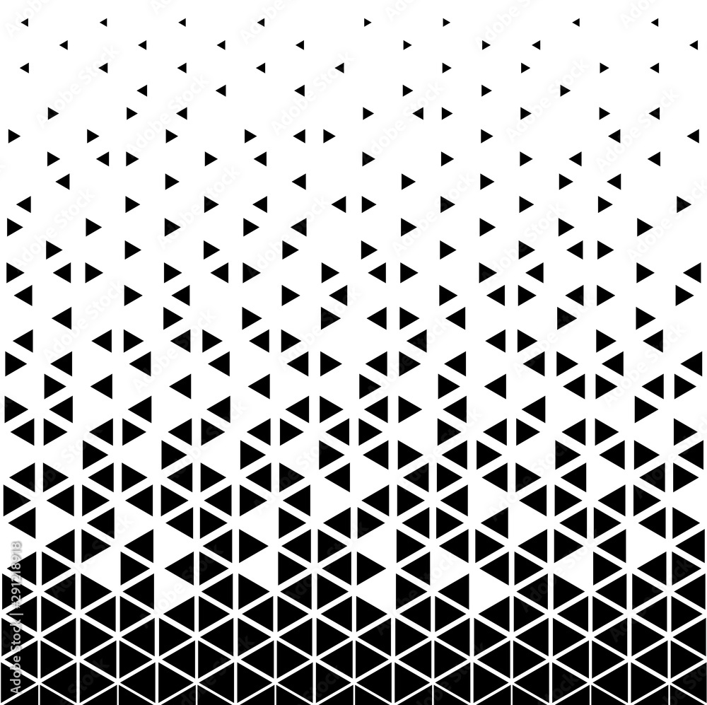 Fototapeta Halftone triangle abstract background. Black and white vector pattern.