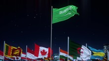Saudi Arabia Flag With World G...