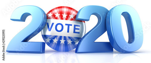 Fototapeta Vote 2020. Red, white, and blue voting pin in 2020 with Vote text. 3d render. obraz