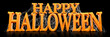 Leinwandbild Motiv Orange Happy Halloween text covered in spooky spider webs banner - 3d render