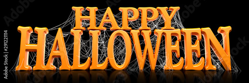 Photo  Orange Happy Halloween text covered in spooky spider webs banner - 3d render