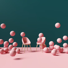 Pink Chair With Balloons. Crea...