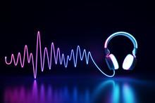 Glowing Headphone Neon On Dark Background. 3d Rendering