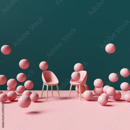 Pinturas sobre lienzo  Pink chair with balloons
