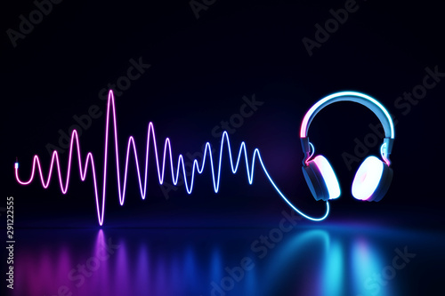 Fotografia  Glowing headphone neon on dark background. 3d rendering