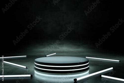 Obraz na plátně  Neon podium with neon tube on dark background. 3d rendering