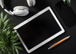 canvas print picture - Top view of a flat lay tablet with a black screen