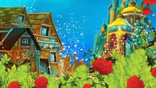 Cartoon Underwater Sea Or Ocean Scene With Castle - Illustration