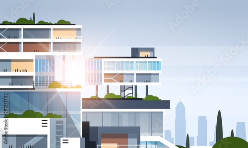 big business center cutaway corporate office building inside and outside construction model in section concept flat horizontal