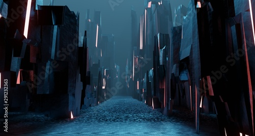 Door stickers Black Sci fi landscape night city glows with neon light tall cubes blocks grunge interior 3D rendering