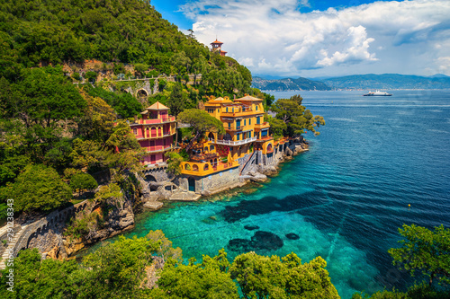 Poster de jardin Europe Méditérranéenne Luxury seaside homes with spectacular beaches, Portofino resort, Liguria, Italy