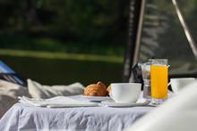 Romantic Breakfast On Motor Ya...