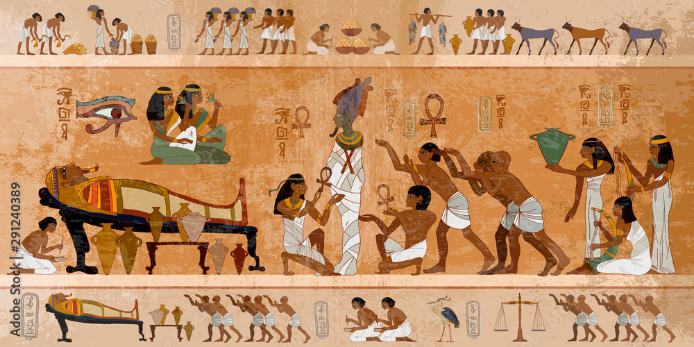 Fototapeta Ancient Egypt. Mummification process. Concept of a next world. Pharaoh sarcophagus. Egyptian gods, mythology. Hieroglyphic carvings. History wall painting, tomb King Tutankhamun