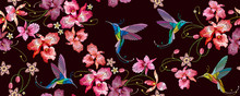 Humming Bird And Orchid Exotic...