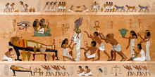 Ancient Egypt. Mummification Process. Concept Of A Next World. Pharaoh Sarcophagus. Egyptian Gods, Mythology. Hieroglyphic Carvings. History Wall Painting, Tomb King Tutankhamun