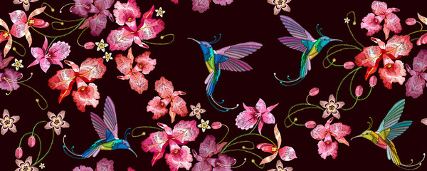 Fototapeta Do kuchni Humming bird and orchid exotic tropical flowers horizontal seamless pattern. Fashion template for clothes. Spring garden, floral art