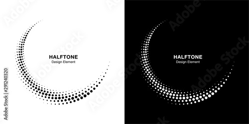 Halftone circle dotted frame circularly distributed set Poster Mural XXL