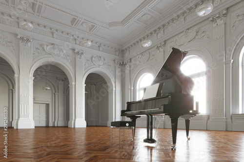 Foto auf Leinwand Altes Gebaude Black Grand Piano in White Classic Room 3d render