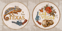 Embroidery Collection. Wild West Concept. Human Skull,  Gun, Roses And Chameleon. Texas, Las Vegas Slogan. Template Tambour Frame With A Canvas, Elements From Stitches. Art For Clothes
