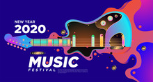 Guitar With Abstract Liquid Colorful Illustration For 2020 New Year Party And Event Banner. Vector Illustration Collage Of Music Festival Background And Wallpaper In Eps 10.