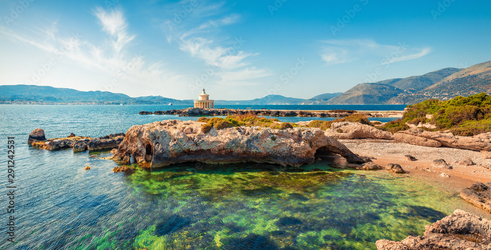 Attractive spring view of Saint Theodore Lantern. Sunny morning landscape of Argostoli Vilagito Torony Nature Preserve. Beautiful outdoor scene of Kefalonia island, Argostoli town location, Greece.