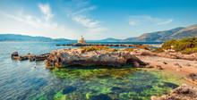 Attractive Spring View Of Saint Theodore Lantern. Sunny Morning Landscape Of Argostoli Vilagito Torony Nature Preserve. Beautiful Outdoor Scene Of Kefalonia Island, Argostoli Town Location, Greece.