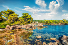 Sunny Spring View Of Argostoli Vilagito Torony Nature Reserve. Splendid Outdoor Scene Of Kefalonia Island, Argostoli Town Location, Greece, Europe. Beauty Of Nature Concept Background.