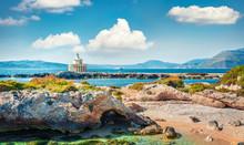 Bright Spring View Of Saint Theodore Lantern. Sunny Morning Landscape Of Argostoli Vilagito Torony Nature Preserve. Beautiful Outdoor Scene Of Kefalonia Island, Argostoli Town Location, Greece.