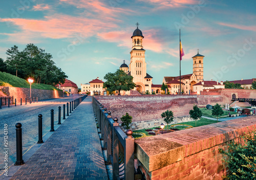 Colorful cityscape of Fortified churches inside Alba Carolina Fortress Wallpaper Mural