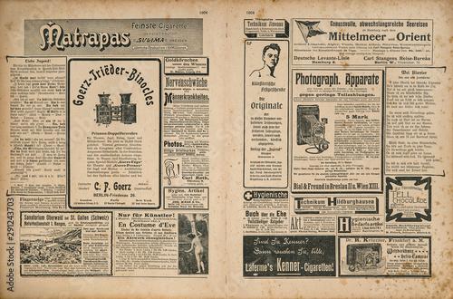 Newspaper magazine page retro advertisement Vintage engraved illustration Wallpaper Mural