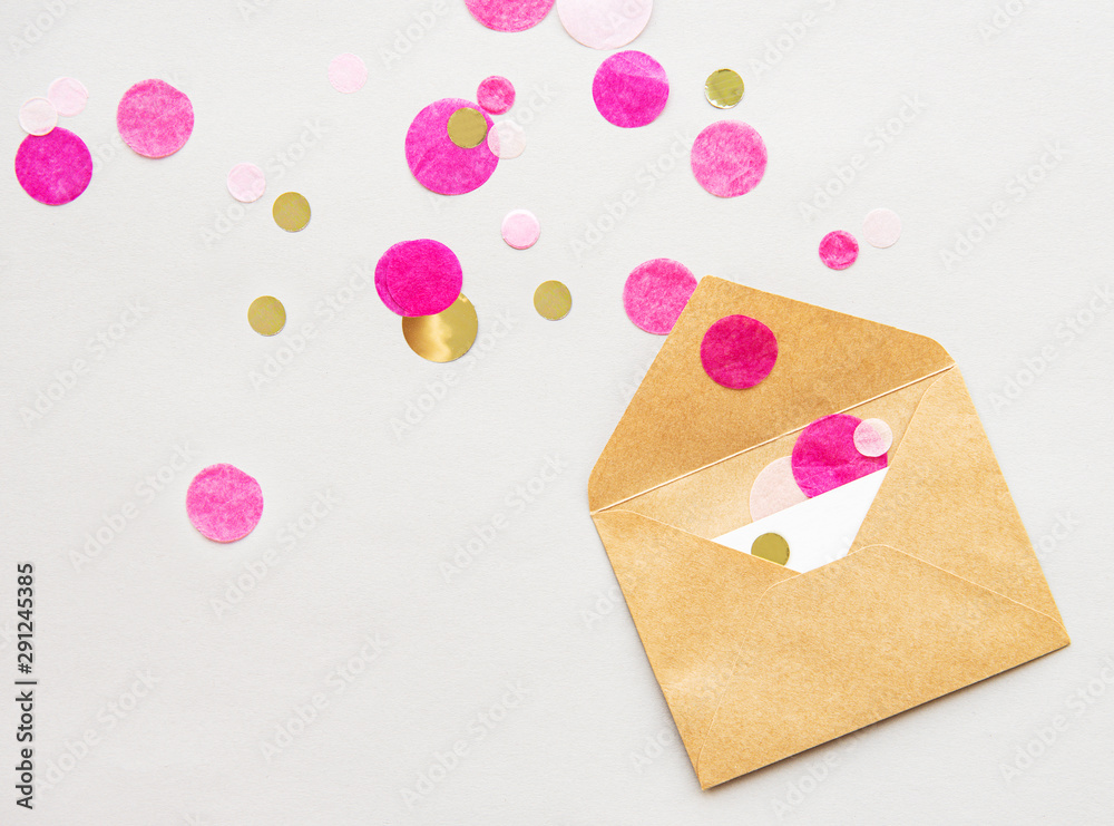 Fototapeta Envelope, blank card and confetti