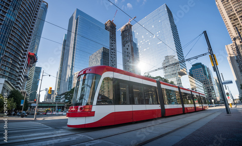 Printed kitchen splashbacks Canada Streetcar in Toronto, Ontario, Canada