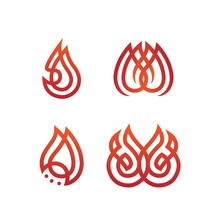 Simple Modern Flame Illustration Set Collection In Red Orange Color