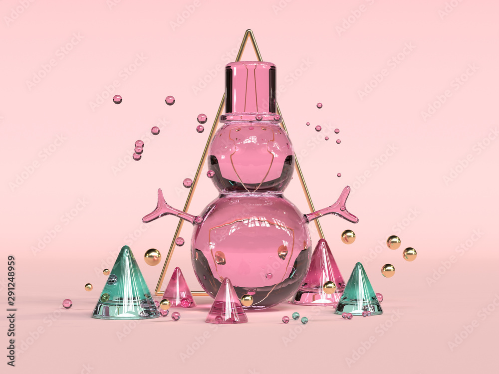 Fototapety, obrazy: red pink green transparency material abstract winter christmas concept 3d rendering