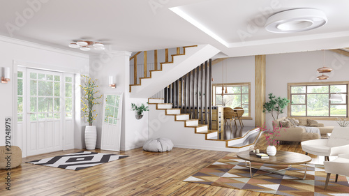 Photo sur Toile Pierre, Sable Interior of modern house 3d rendering