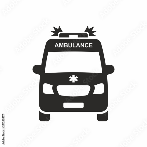 Ambulance car icon. Vector icon isolated on white background. Wallpaper Mural