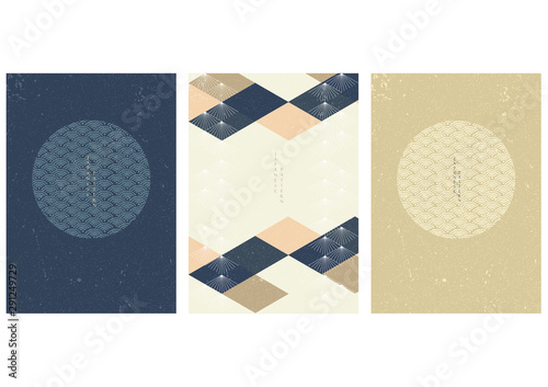 Fotografia Japanese template with geometric elements vector